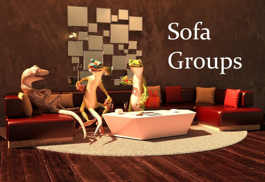 Frogs socialising on couch with 'Sofa Group' text overlay