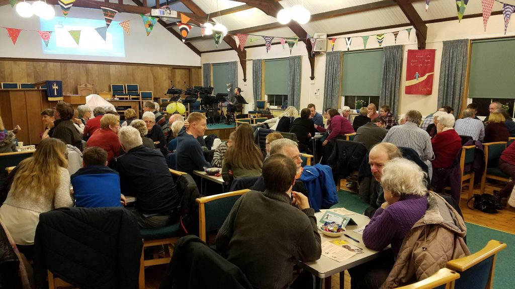 Tables of partiicpants at Church Quiz Night 2019