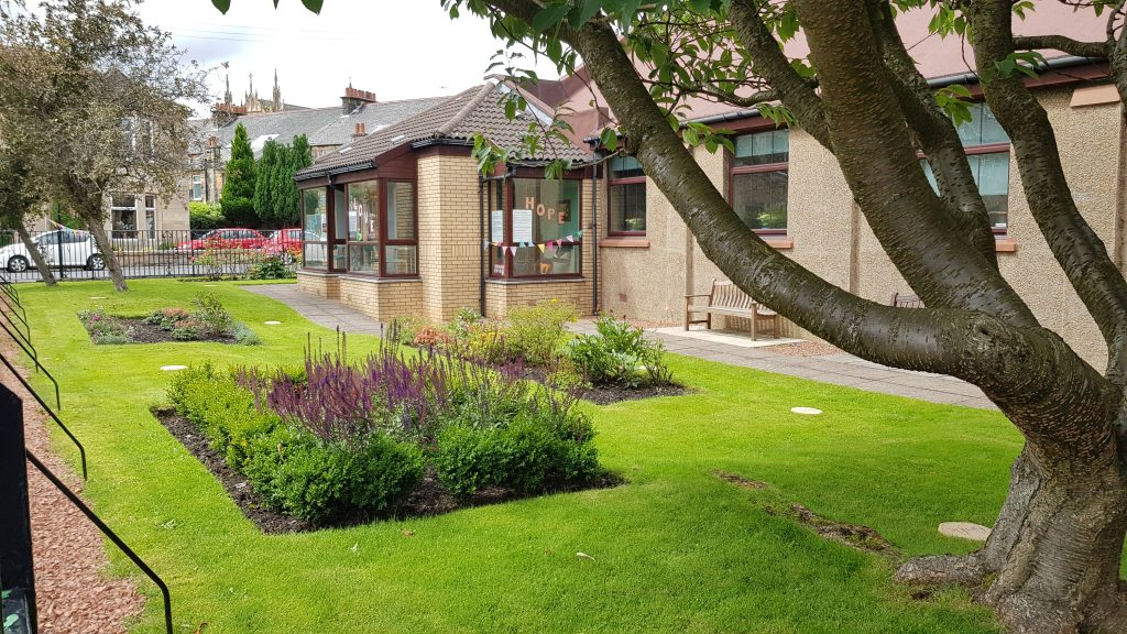 Church garden from Kildary Road