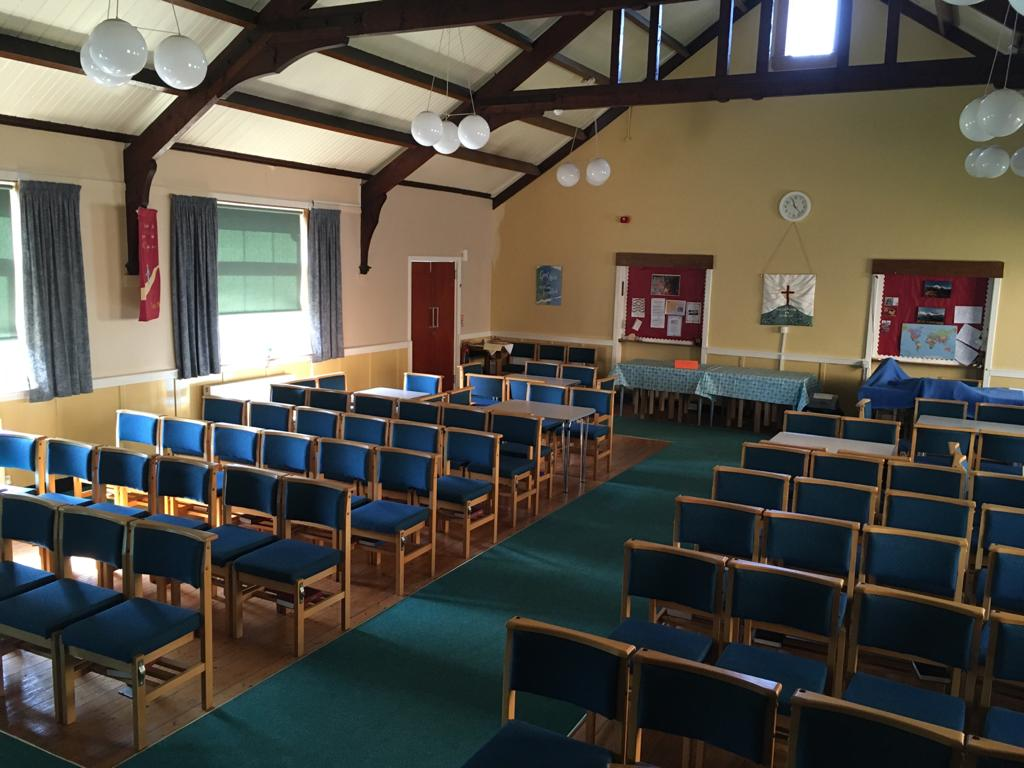 Inside church from front looking at seating