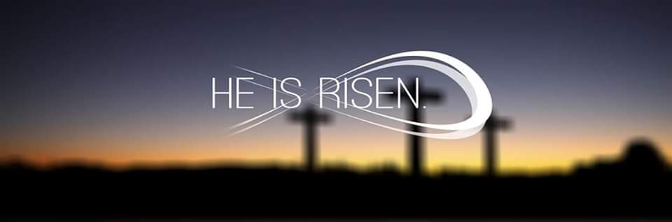 Large cross with two smaller on either side with text 'He is risen' superimposed on image