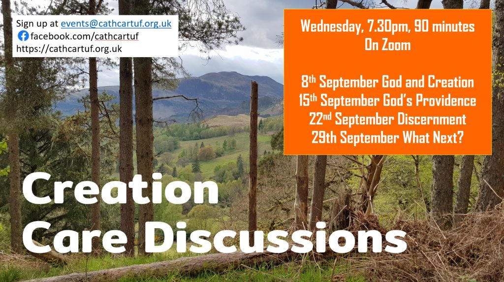 Creation Care Discussions event image with zoom dates 8, 15, 22,29 September